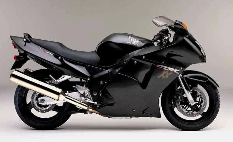 a black Honda CBR1100XX Super Blackbird classic motorcycle