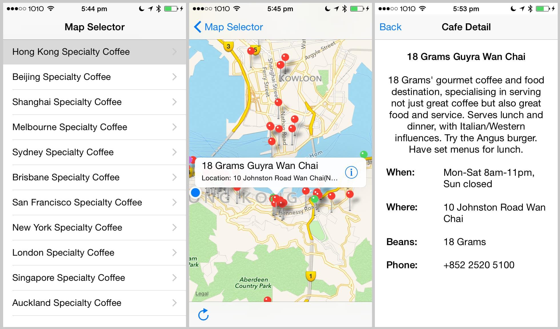 Original MVP of an app I deployed on the app store - Pilgrim Coffee