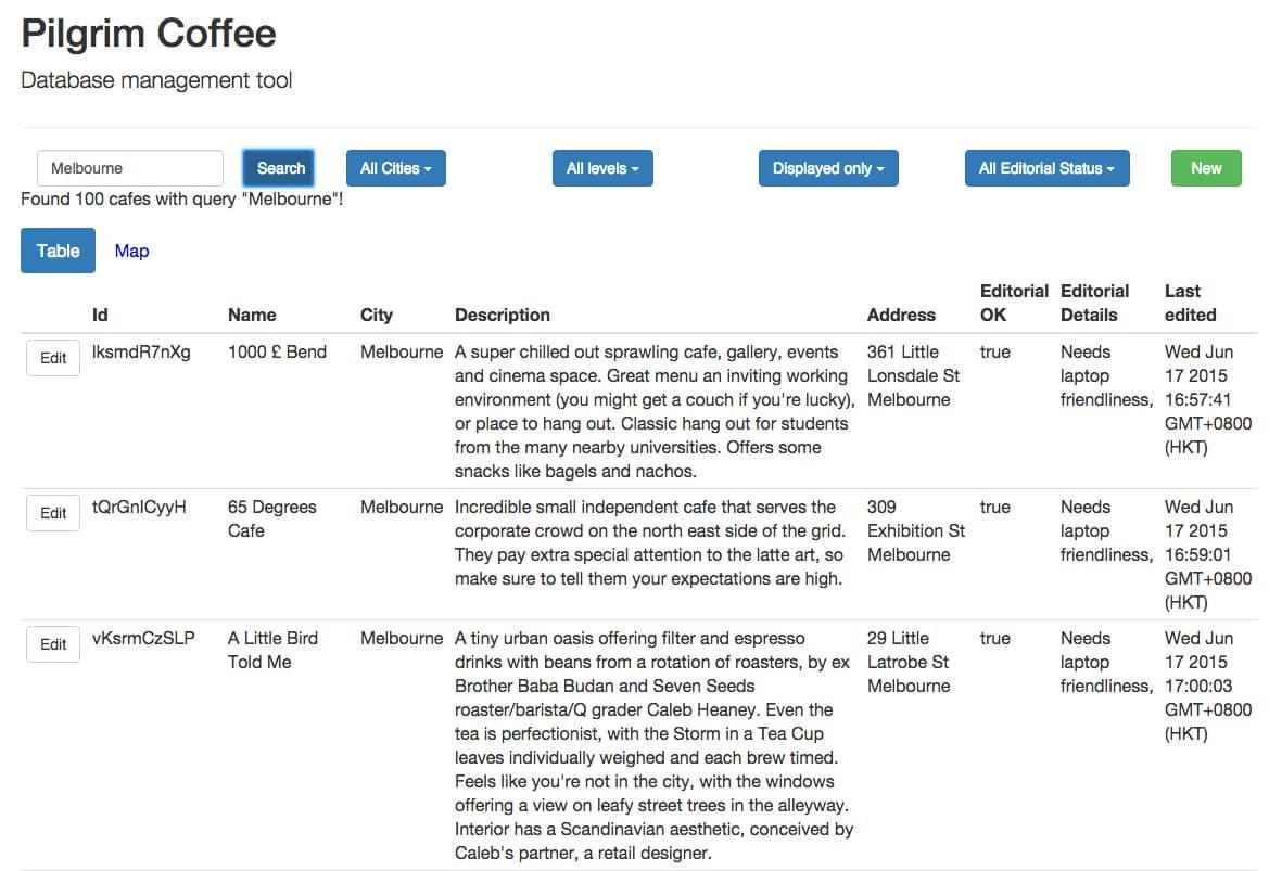 Back-end database for app store app - pilgrim coffee
