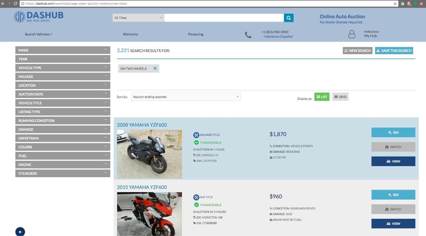 Buying a salvage title motorcycle in the US. Screenshot of Dashub.