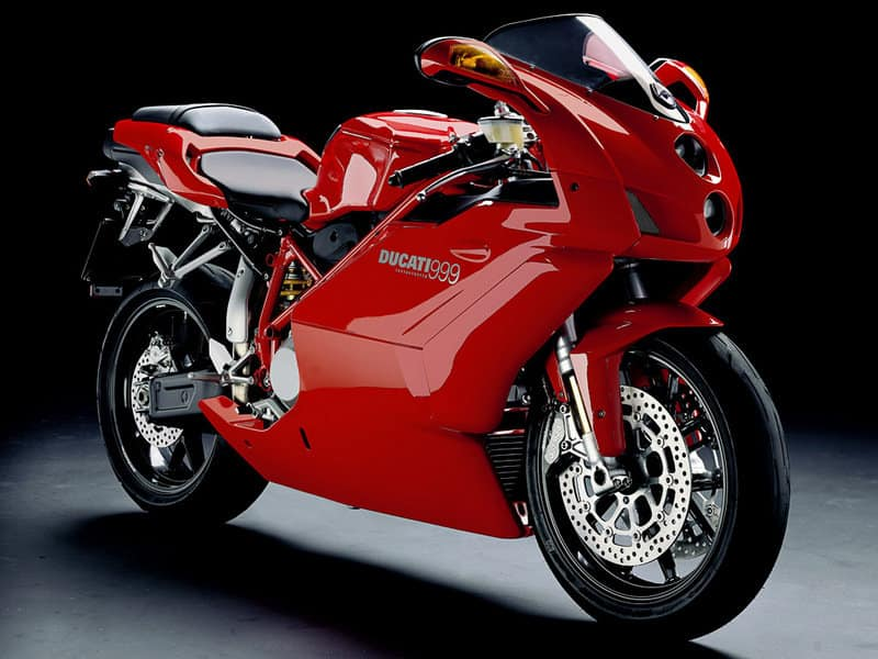 A red Ducati 999 - a sharp change in design language
