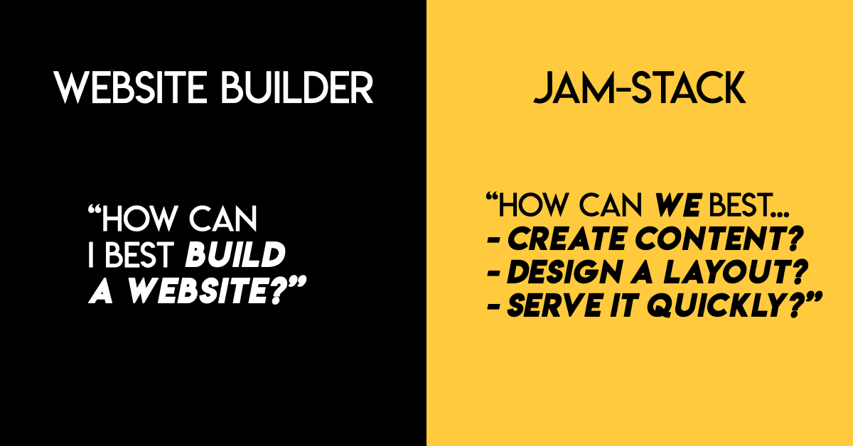 Website builders vs the JAMstack - the questions to ask yourself when building a JAMstack site