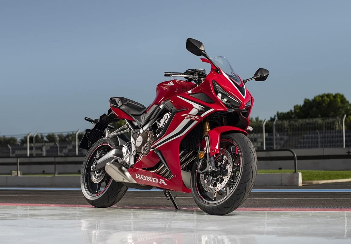 The CBR650R - side view, exposed exhaust