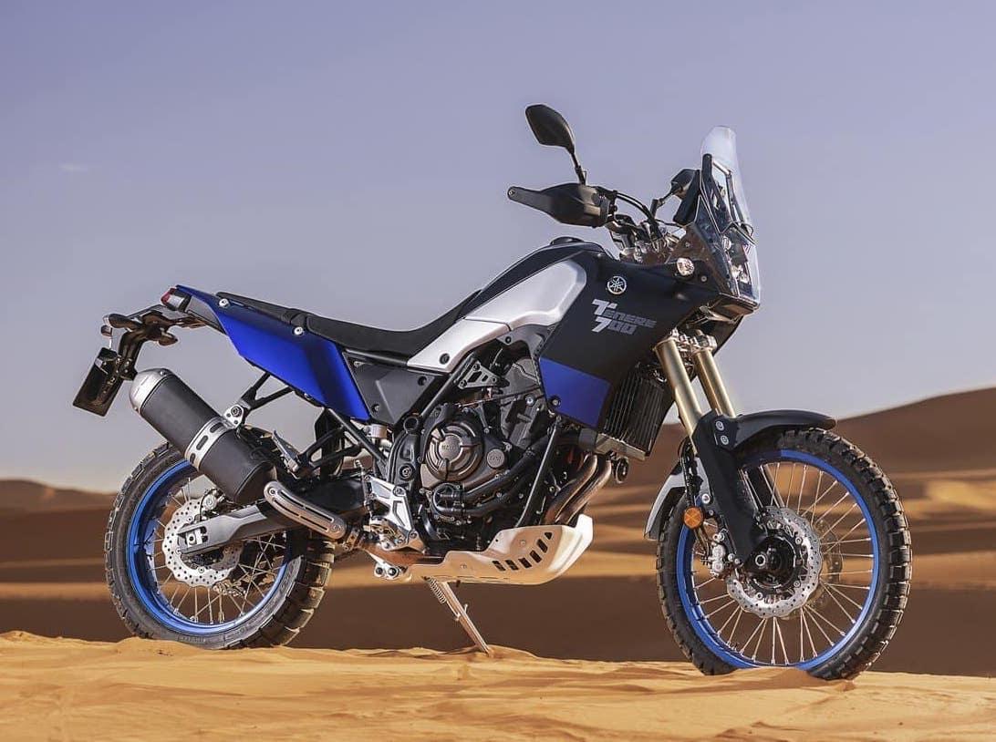 Stock photo of the Yamaha Ténéré 700 in the desert