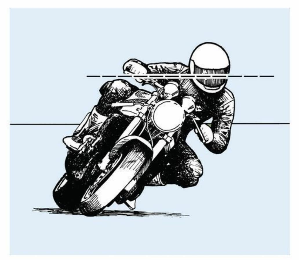 "Screenshot from ""Proficient Motorcycling"" (one of the best motorcycling books) showing to keep your eye level"