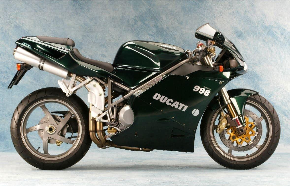 Green Ducati 998 ridden by Trinity in Matrix Reloaded