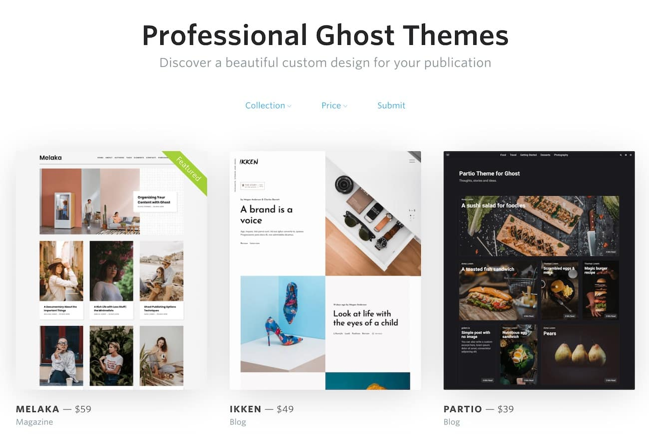 Ghost themes marketplace - first stop before starting a Ghost travel blog