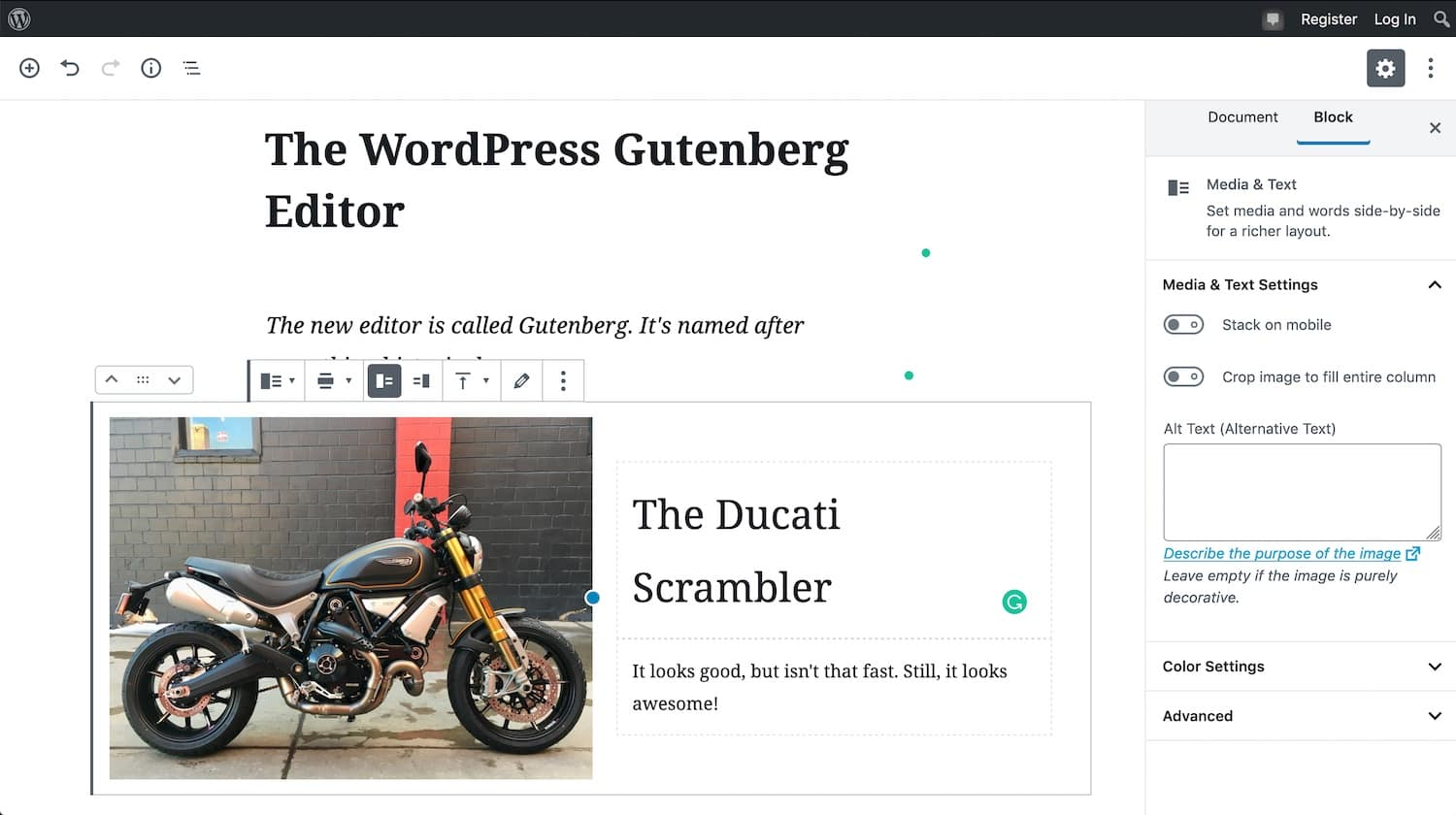 The Ghost editor isn't as good as Gutenberg, but it's much, much faster.