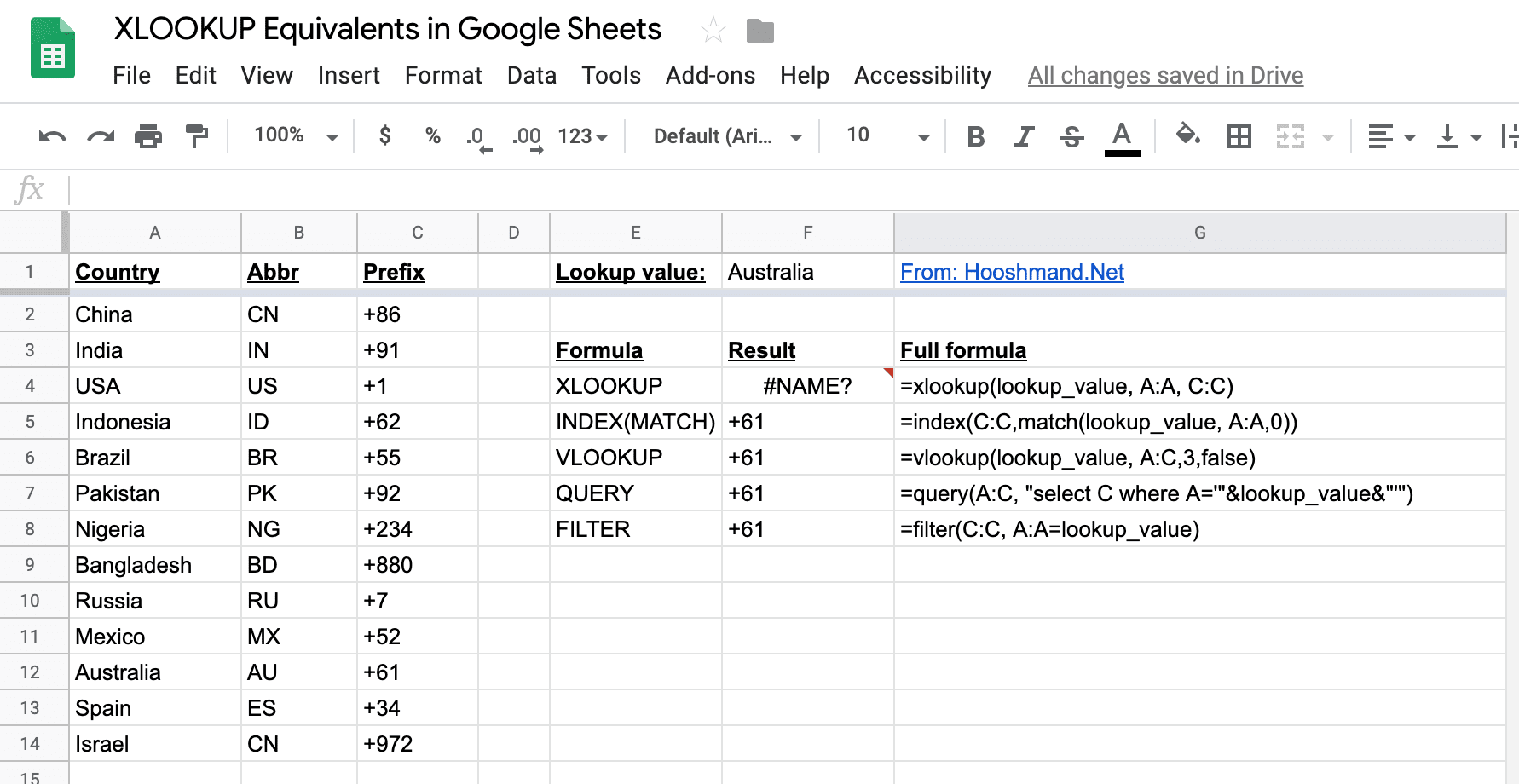 Google Sheets - XLOOKUP equivalents demonstrated
