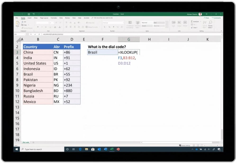 XLOOKUP in Excel. Not available yet in Google Sheets