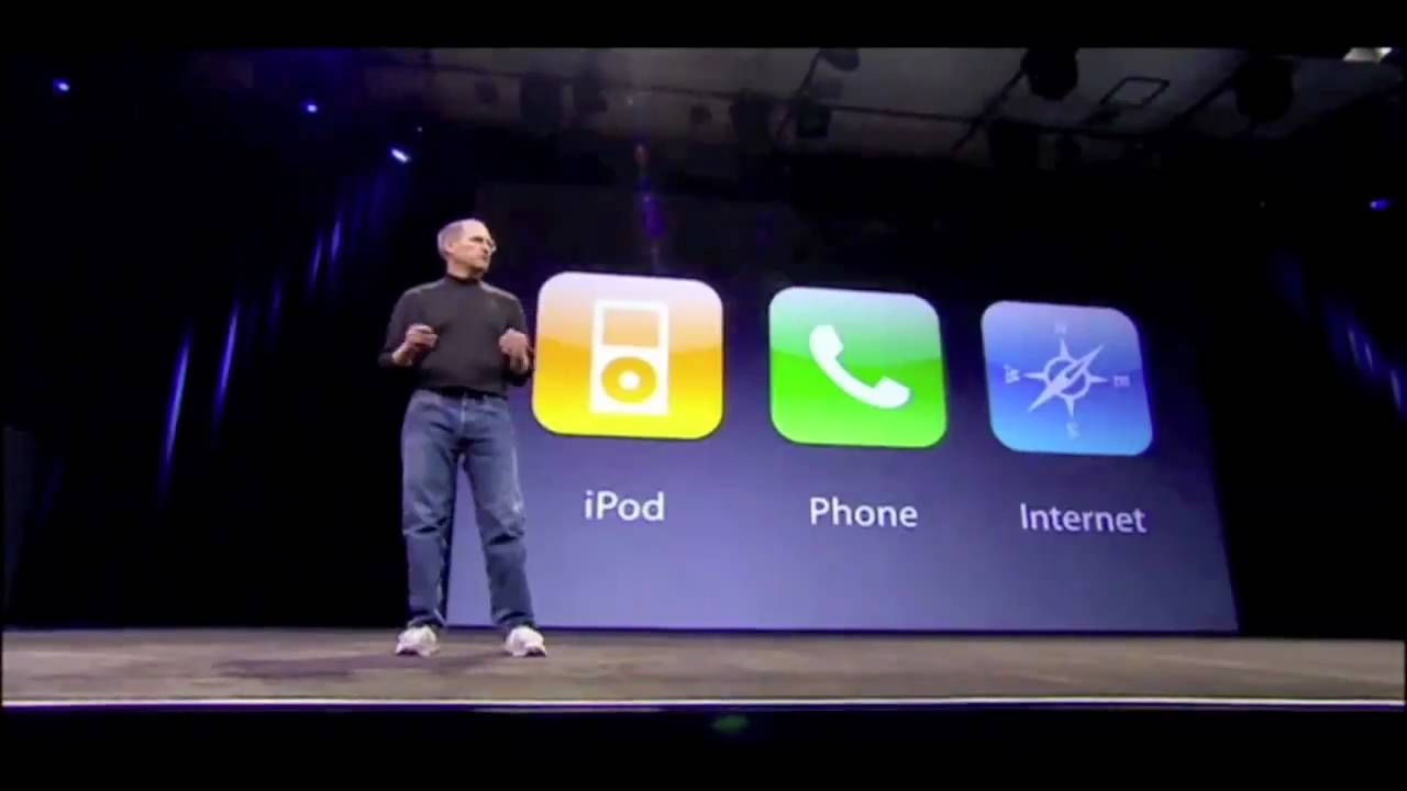 "Steve Jobs using the ""rule of three"" in a presentation"