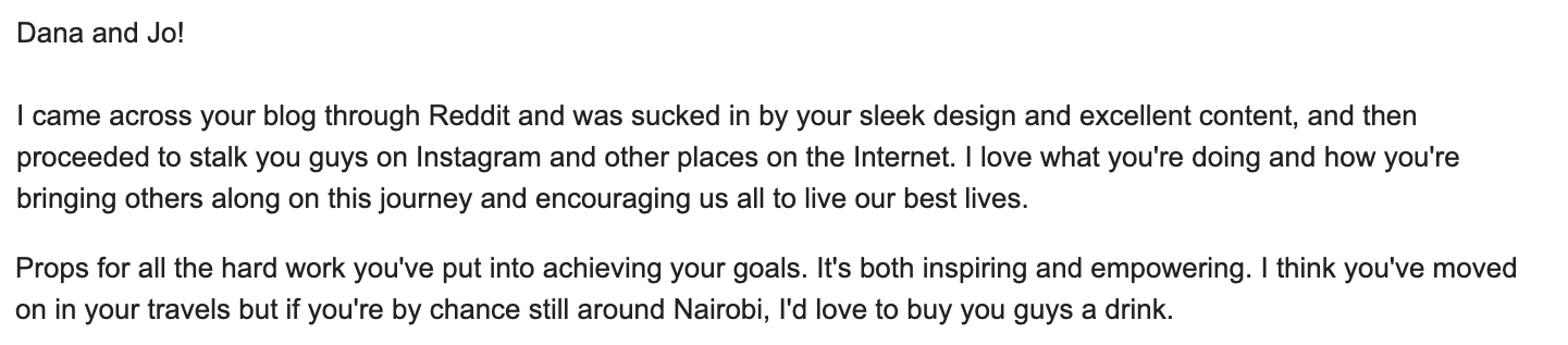 Compliments - letter from a friend in Kenya about our blog