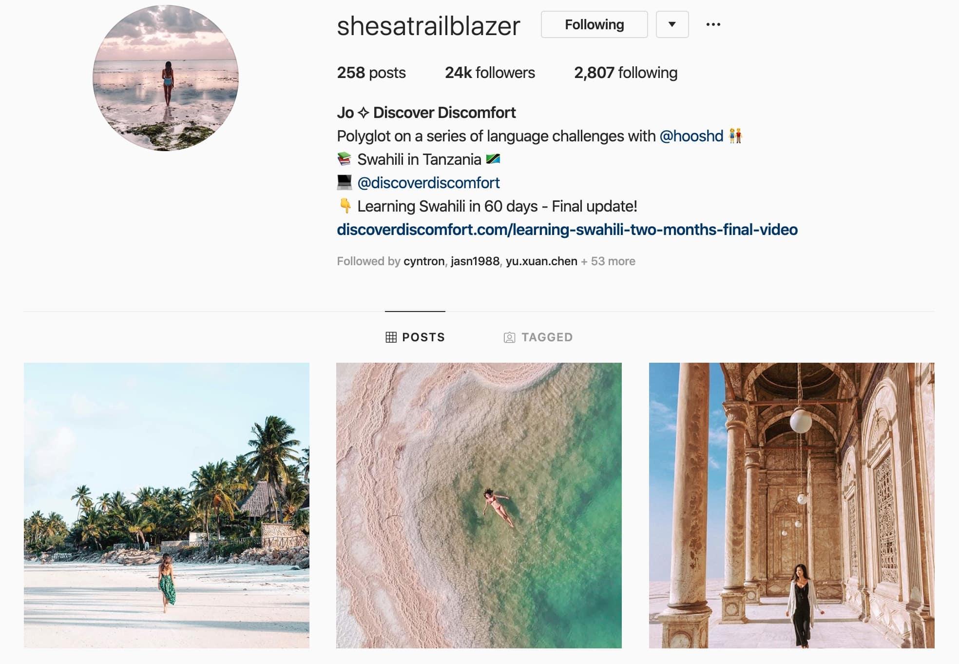 "Jo Hyun's Instagram feed, ""She's A Trailblazer"""