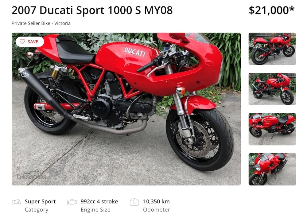 A Ducati Sport 1000S - a classic Ducati, and only get one with Termi mufflers!