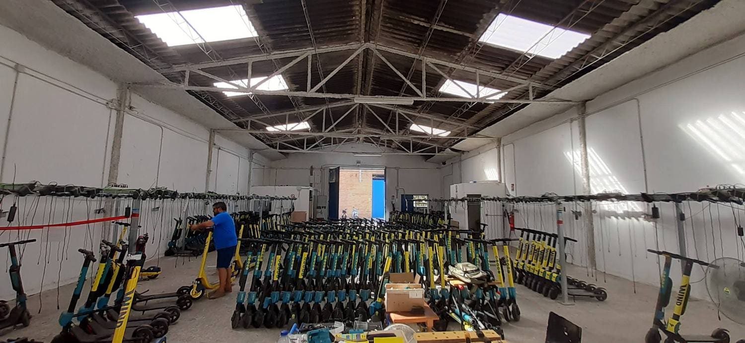 building warehouses for startups - a scooter factory/startup in Malaga, Spain