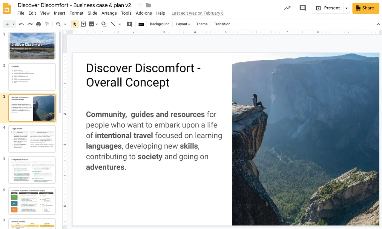 The Discover Discomfort business plan