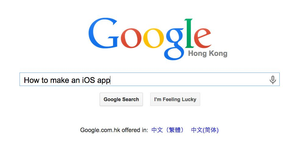 """Googling """"how to make an iOS App to build an app for the Apple app store."""