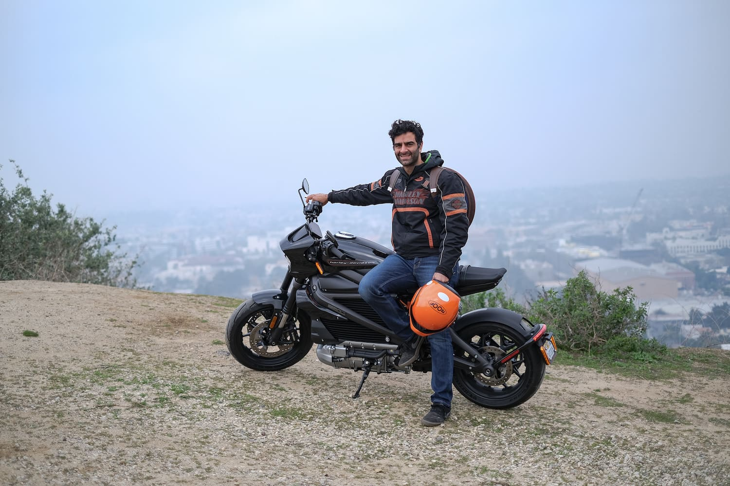 A Harley-Davidson LiveWire with me on it