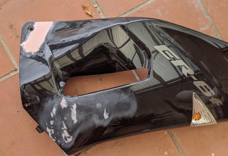 repairing motorcycle weldings - sanding, filler putty