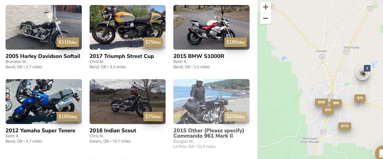Some motorcycles you can rent on Twisted Road in Bend, Oregon
