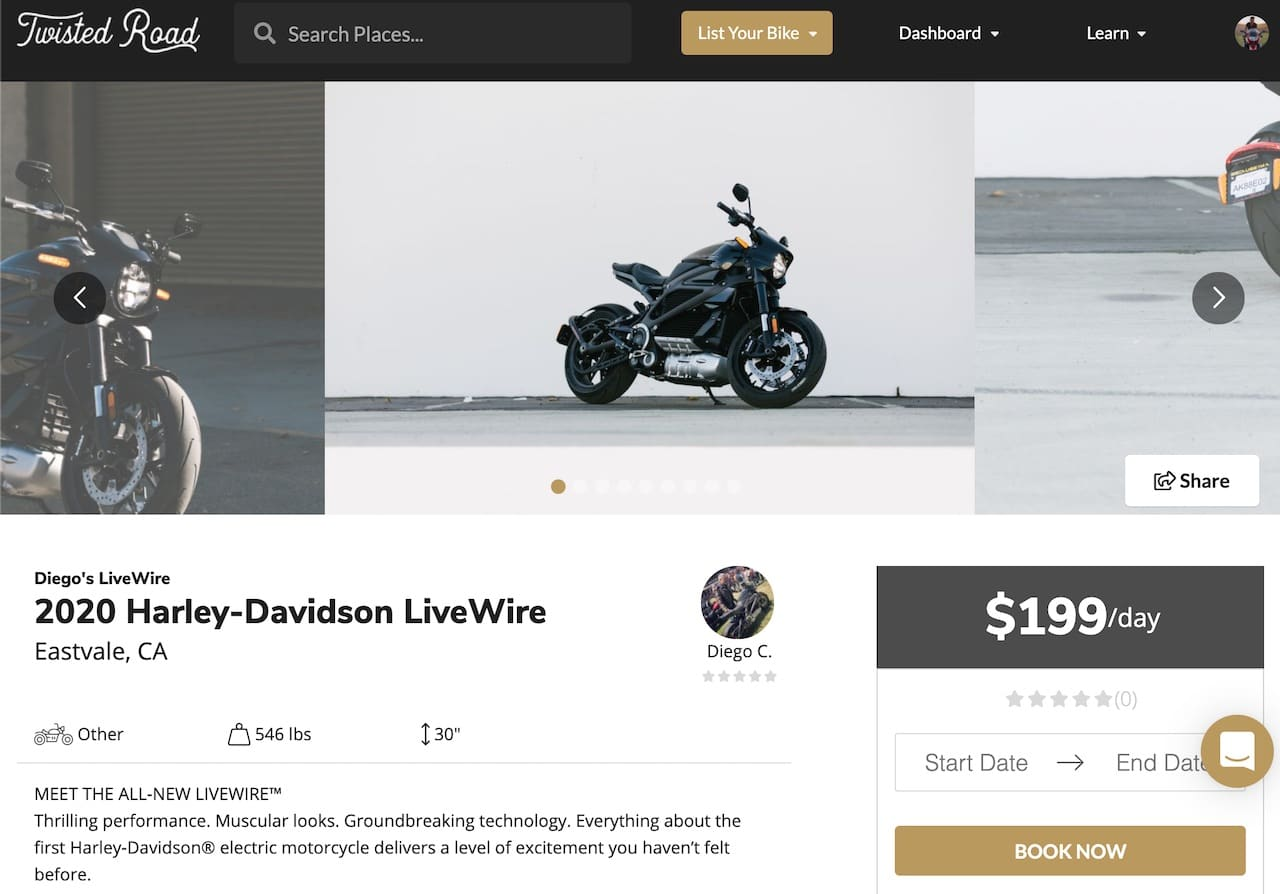 Rent a Harley-Davidson LiveWire on Twisted Road