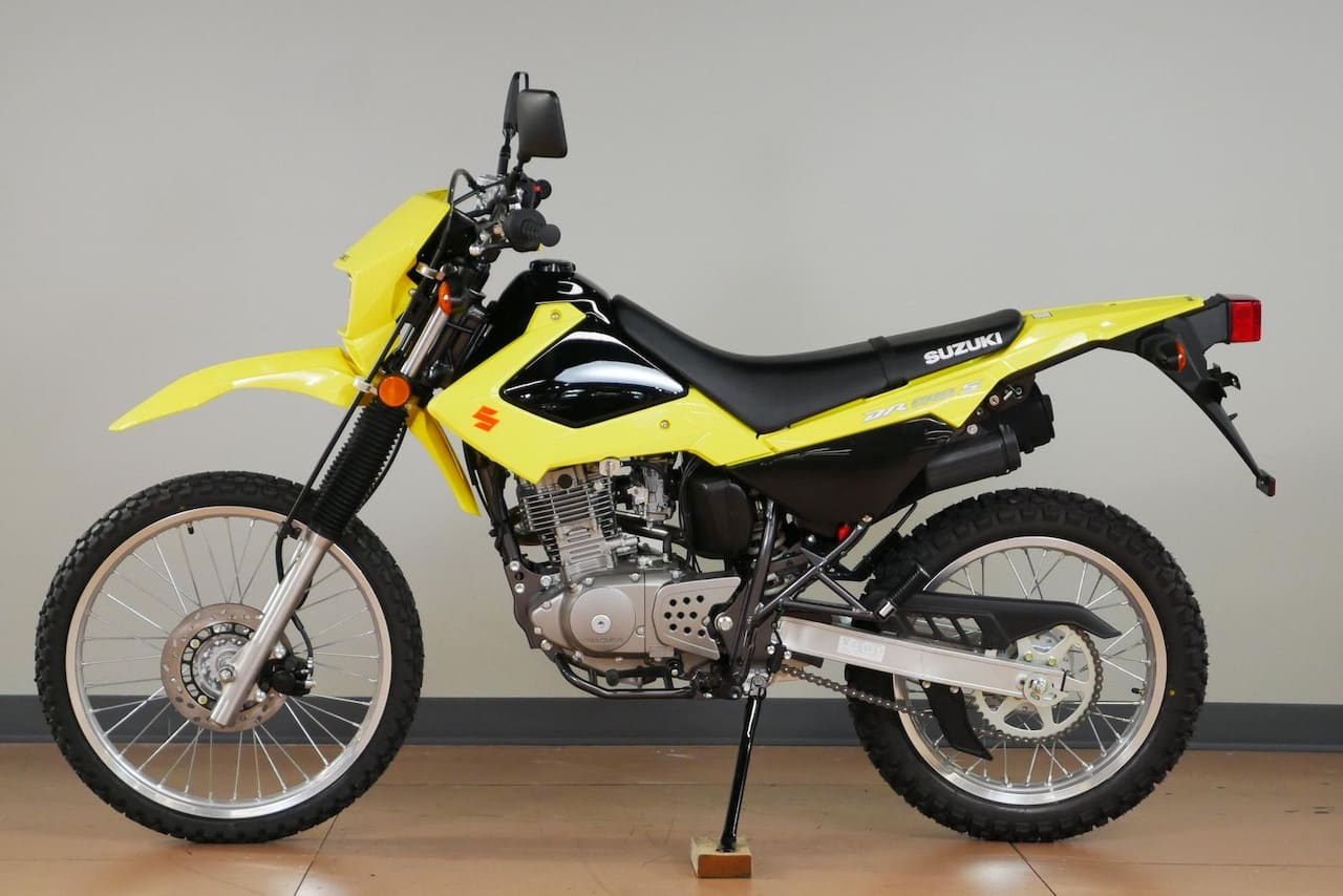 A yellow DR200S, the motorcycle I passed my Californian driving test on