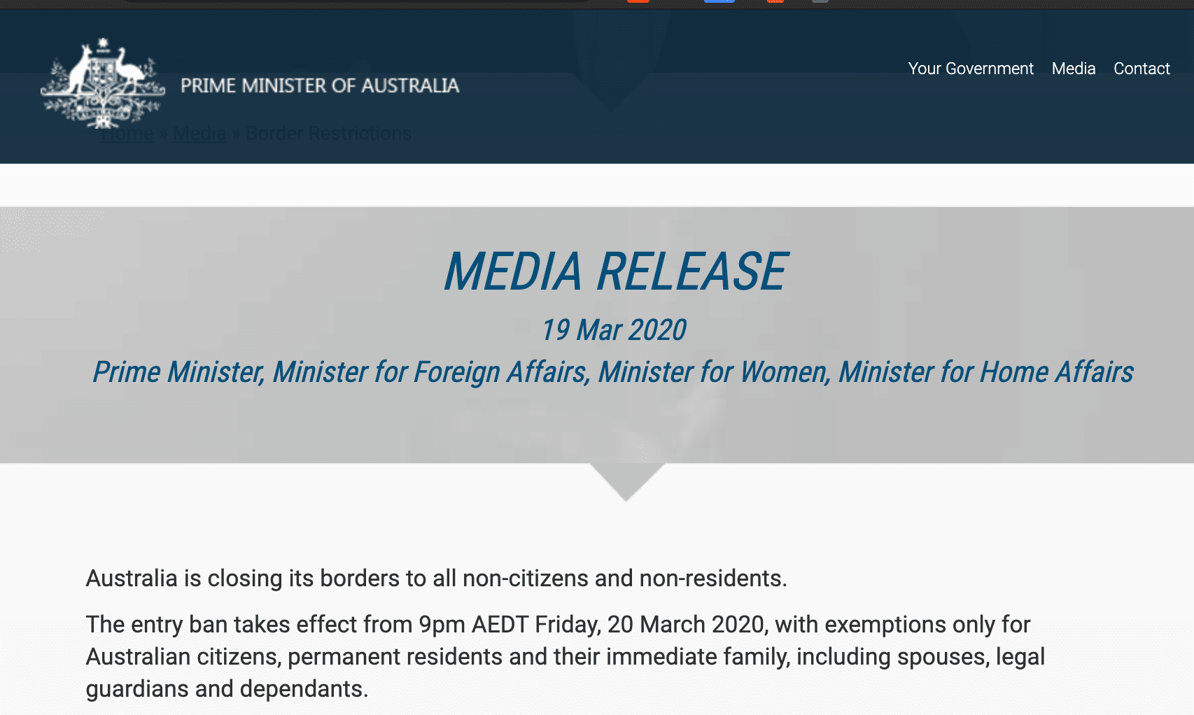 Media release on 19 March 2020 by Australian prime minister announcing entry ban on new arrivals for non-australians
