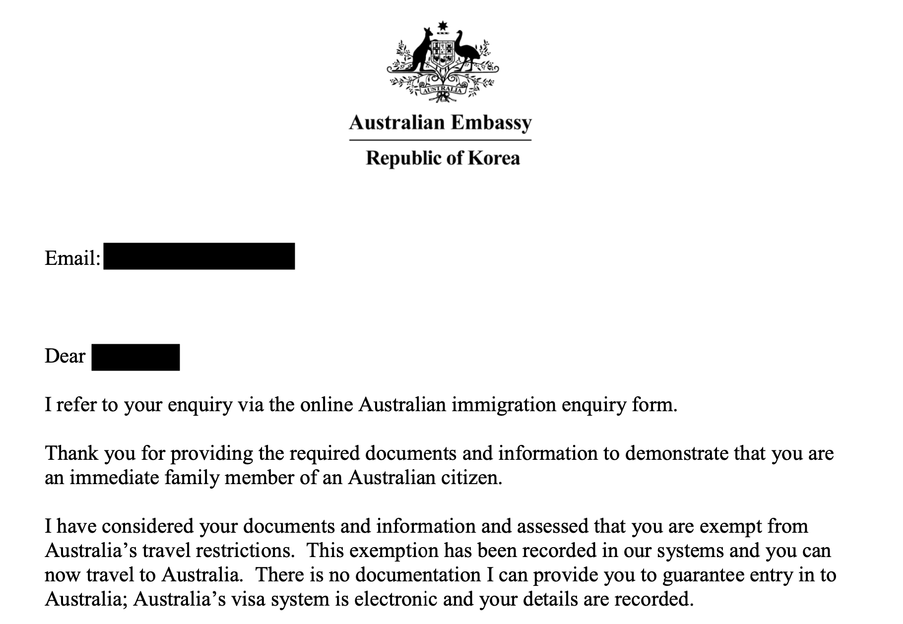 Letter from Australian Embassy granting exemption from the Coronavirus travel ban