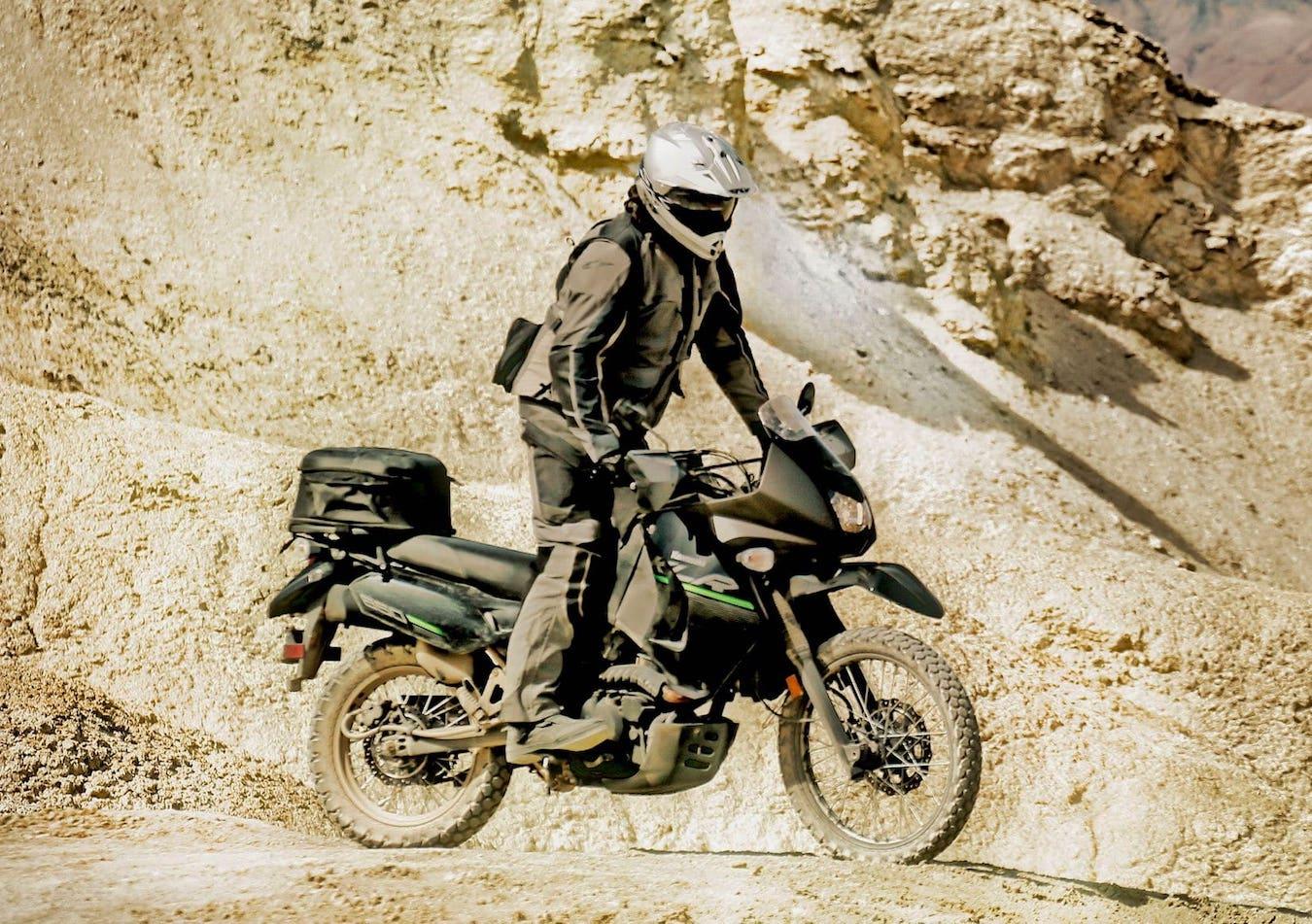 The Kawasaki KLR650 in mid-adventure