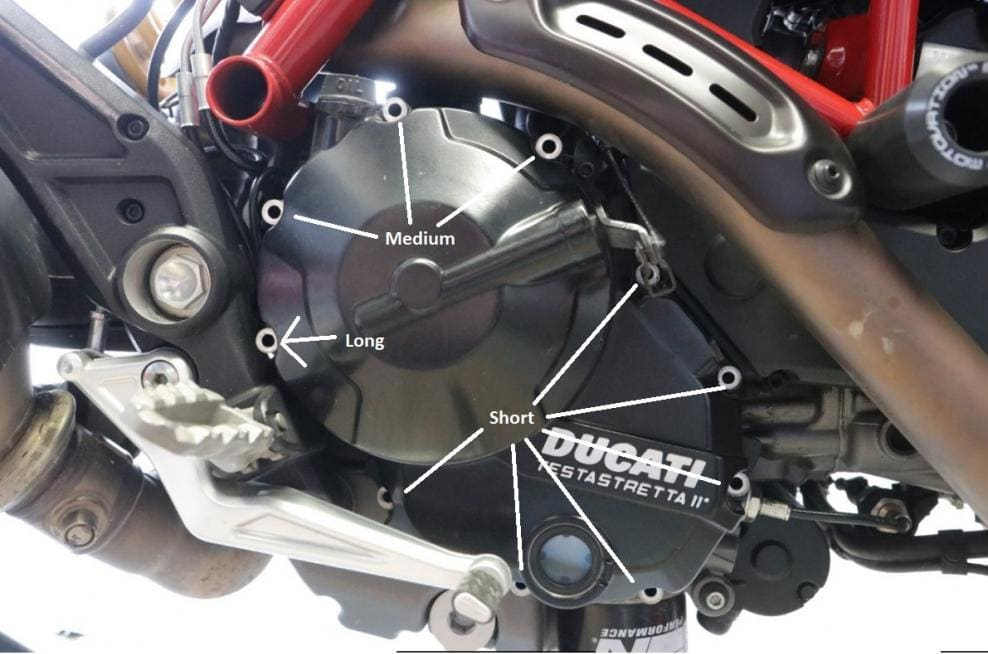 Bolts to remove when replacing the Ducati Hypermotard/Hyperstrada clutch