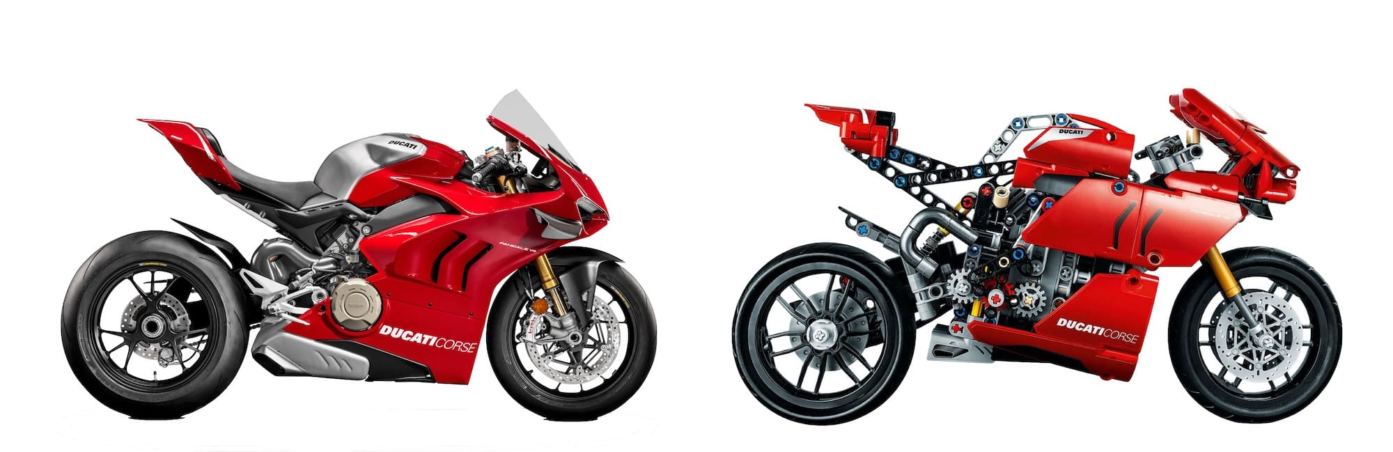 Ducati Panigale V4R and the Lego Ducati Panigale V4R side by side