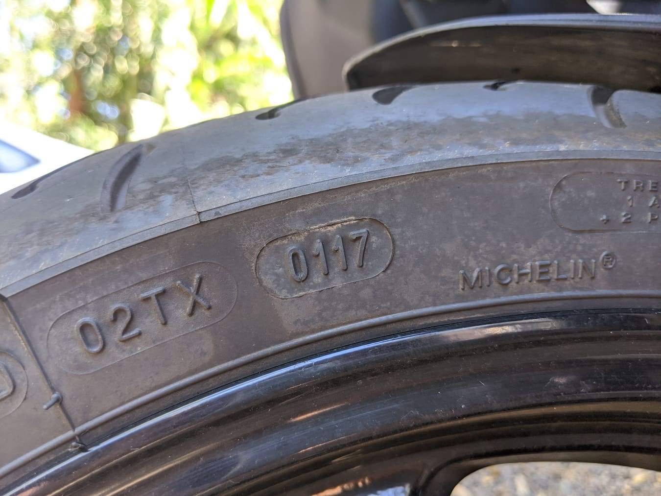 Date tyre codes on a used motorcycle