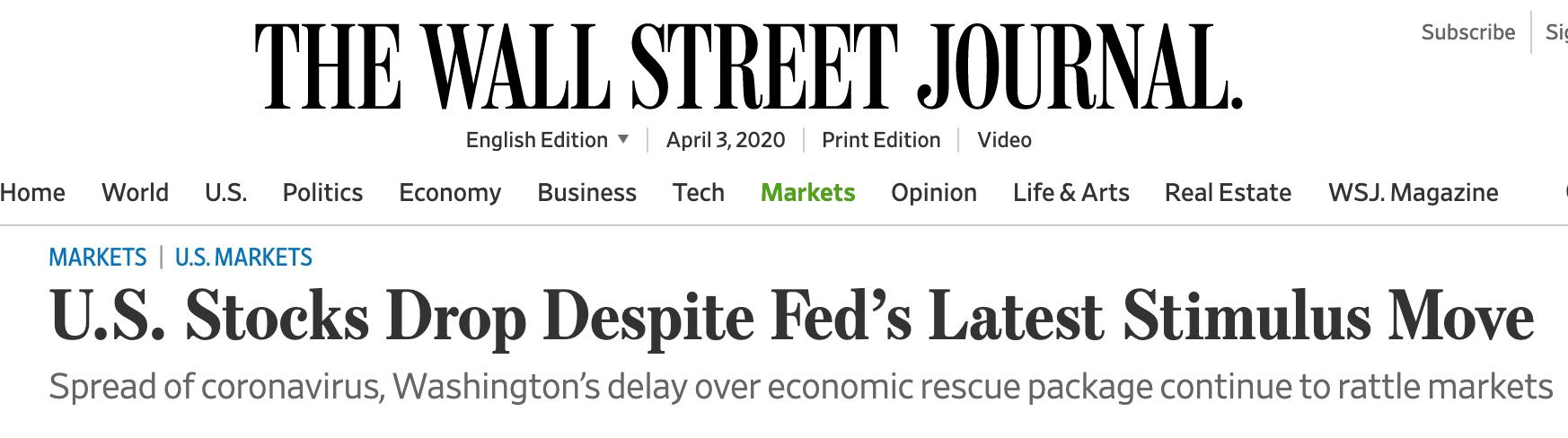 "Wall street journal headline - US Stocks fall ""despite"" something"