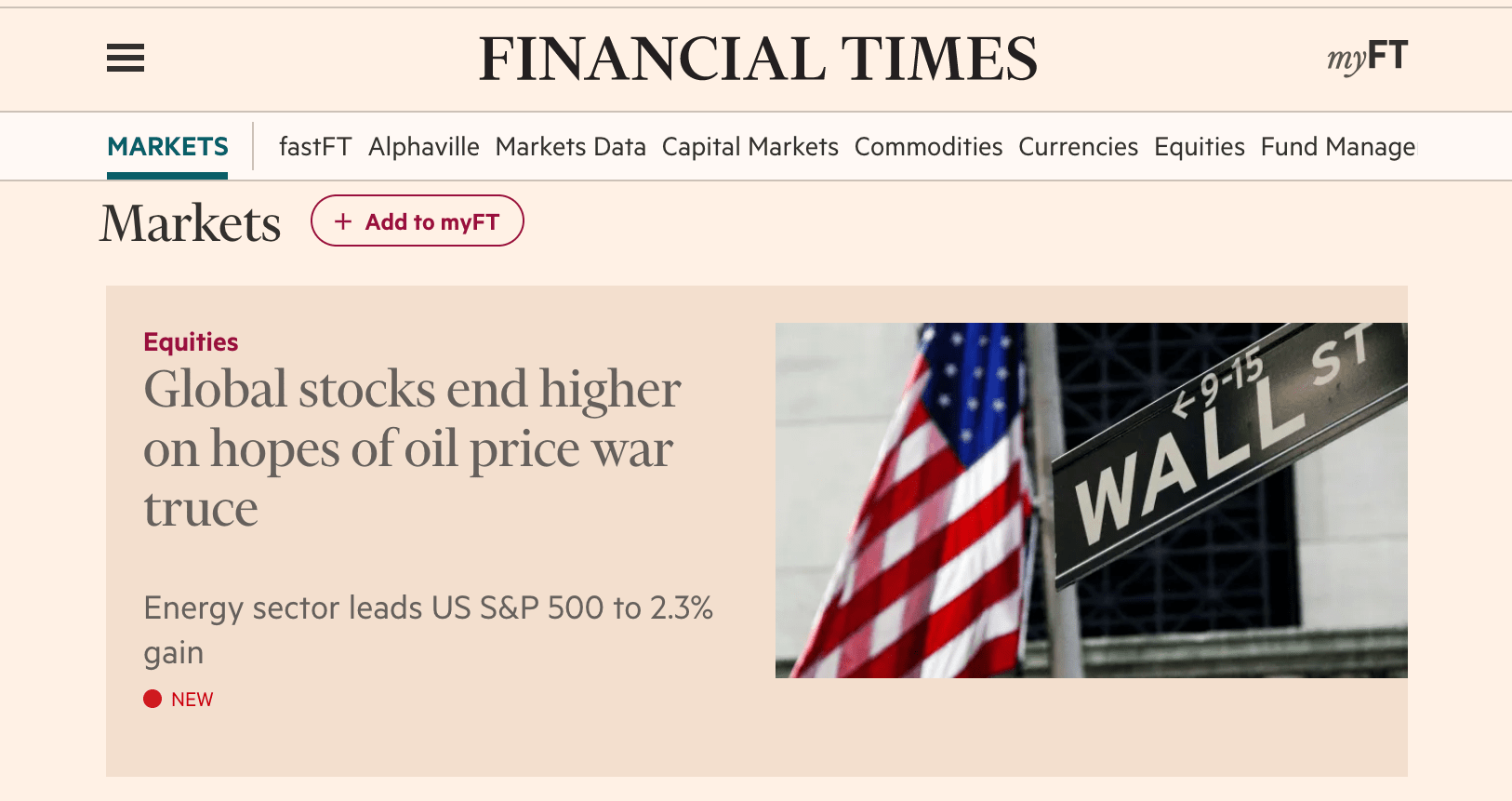 "Financial times headline - stocks rise ""on hopes of"""