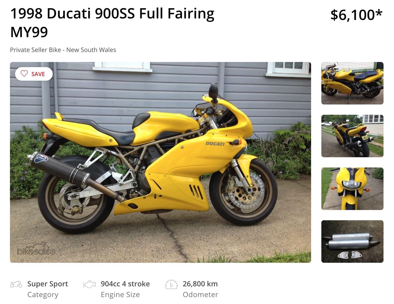 Yellow Ducati 900SS Full Fairing in Australia