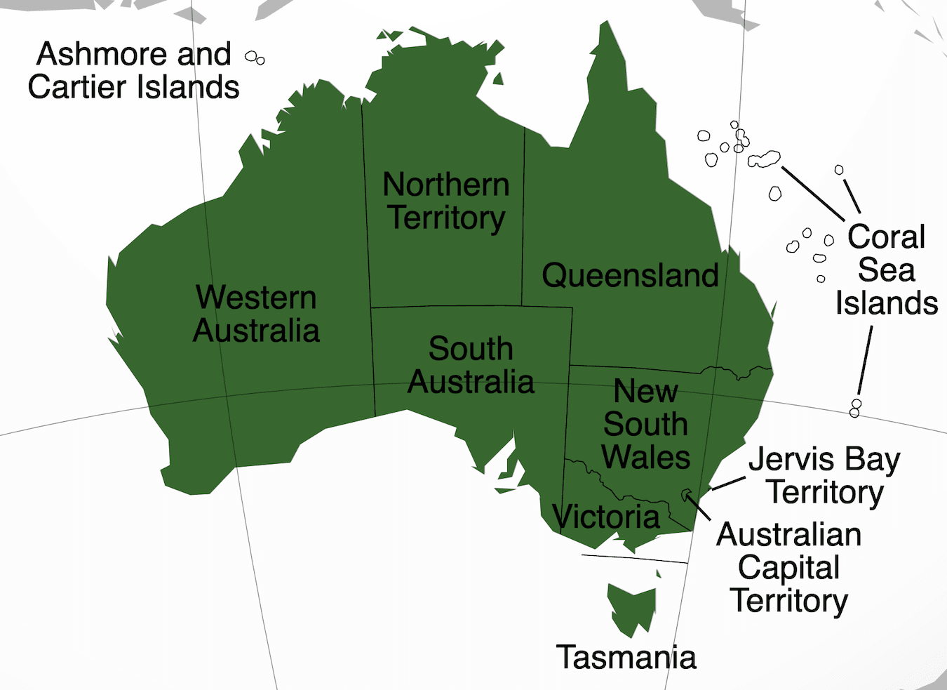 Map of Australian states and territories and borders