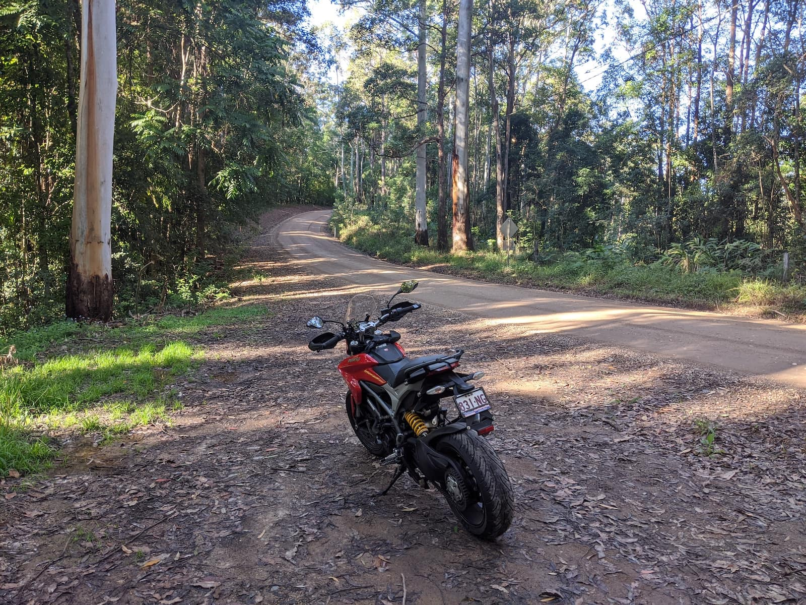 The Ducati Hyperstrada on a dirt road