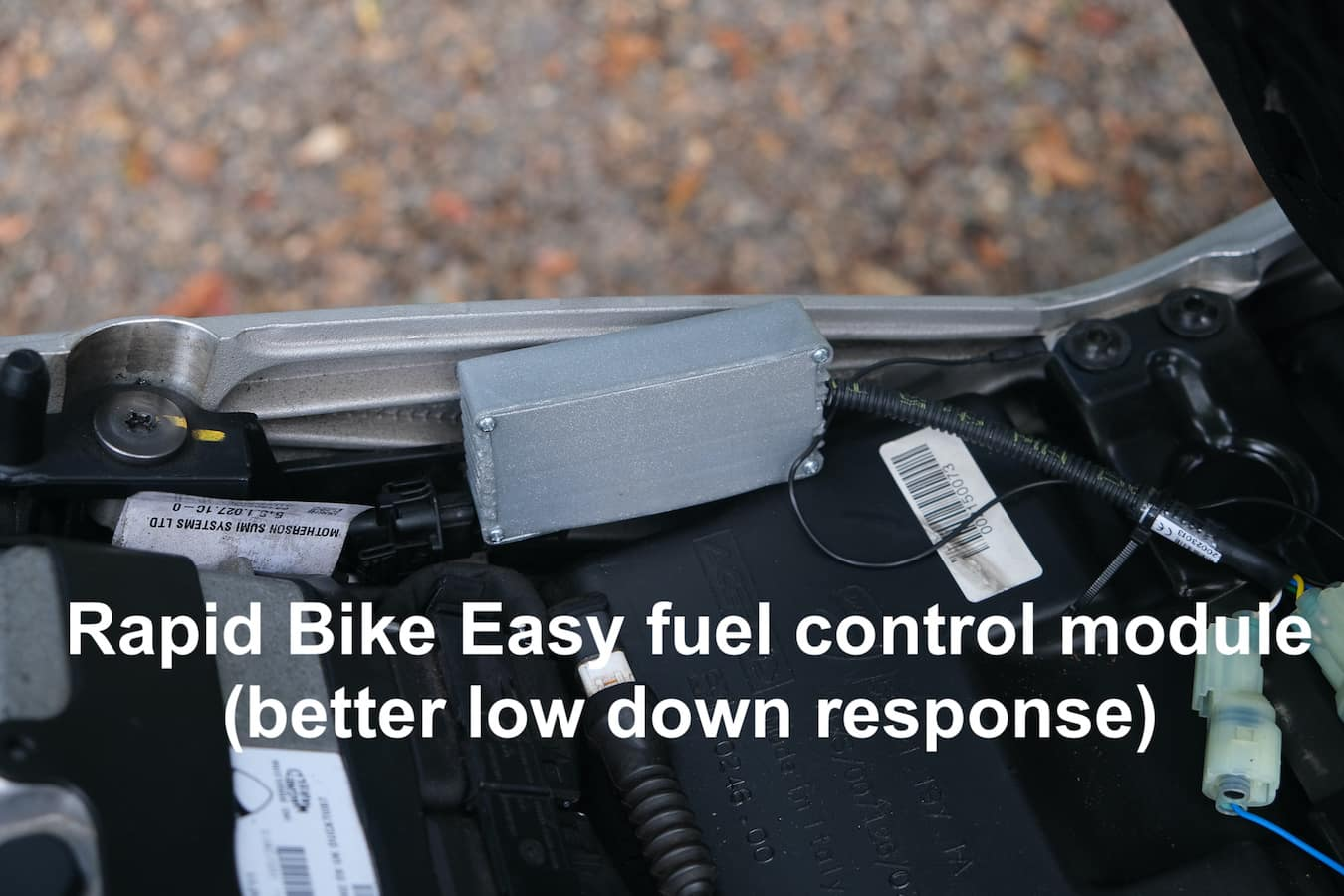 The Rapid Bike Easy fuel control module on the Ducati Hyperstrada 821 (same as Hypermotard install)