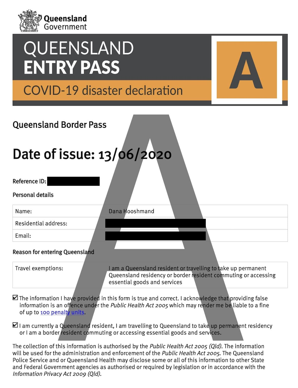 Queensland entry pass under COVID