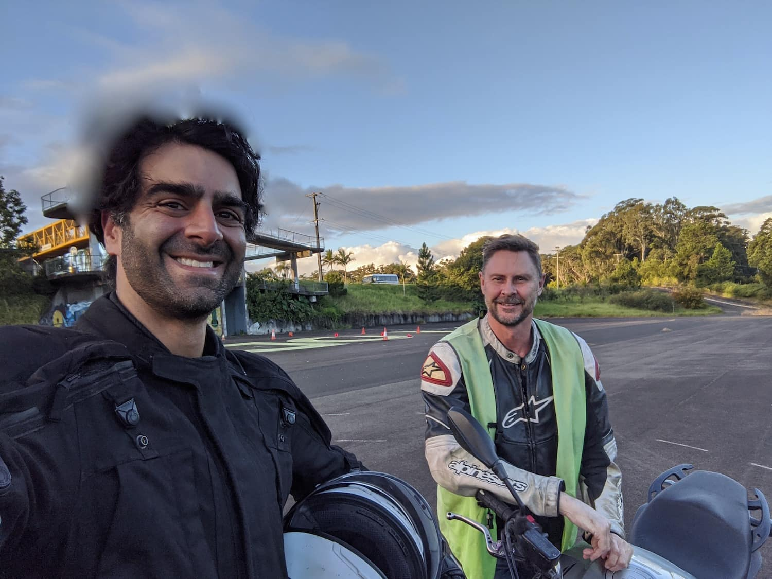 Queensland Motorcycle School - Me and trainer Mark on the Honda CB600 Hornet