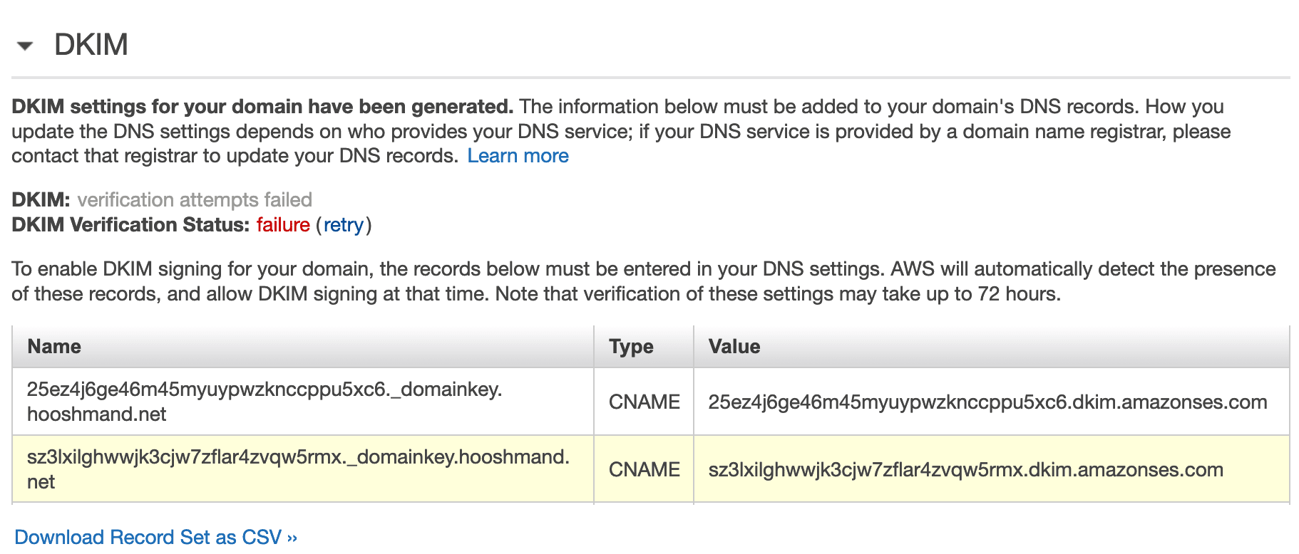 DKIM settings in Amazon SES account
