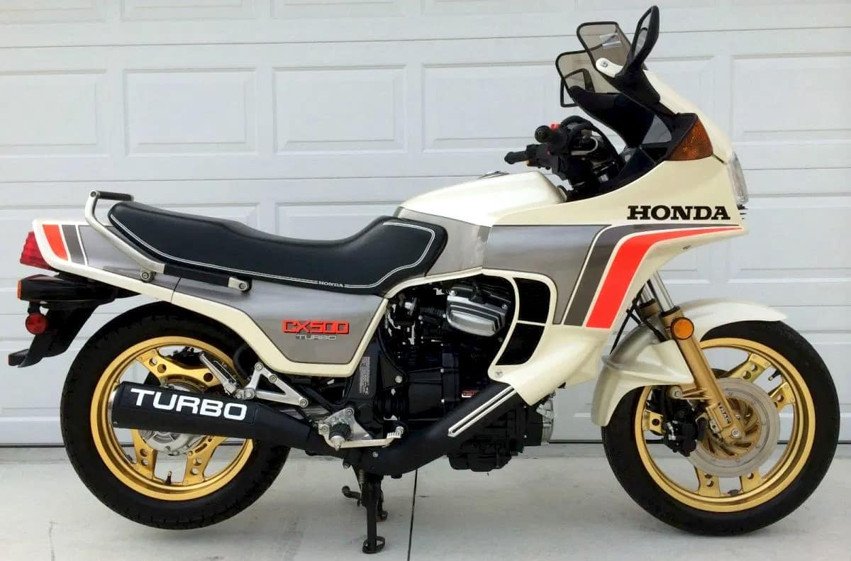 Side-on view of the Honda CX500 Turbo motorcycle