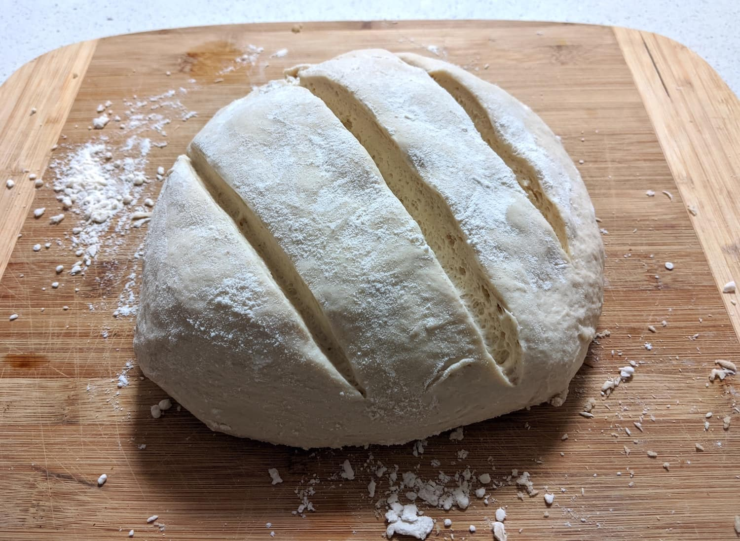 An un-baked sourdough loaf