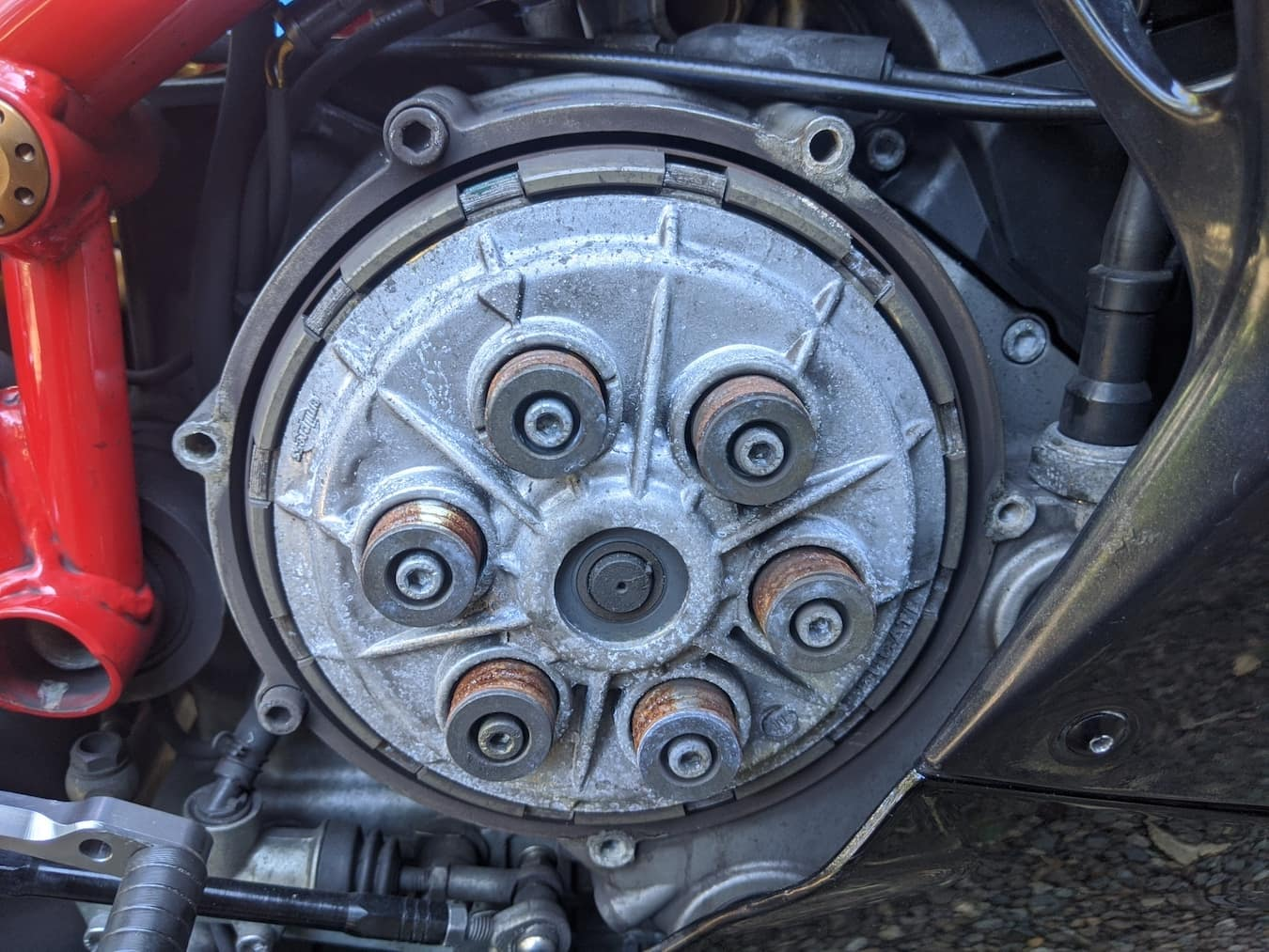 Rusty springs on a Ducati dry clutch from a motorcycle