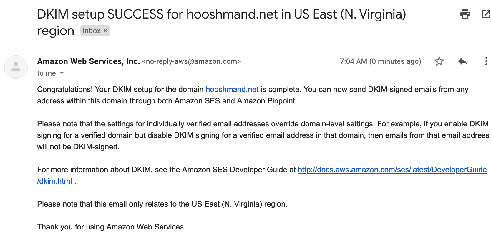 DKIM success email
