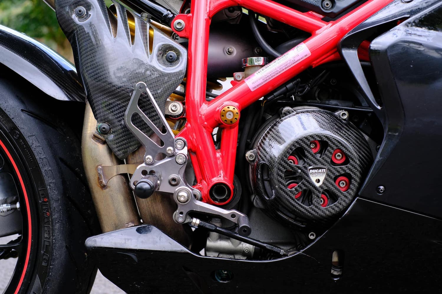 Ducati open clutch cover and after-market springs.