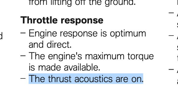 BMW Thrust Acoustics — What does it mean??
