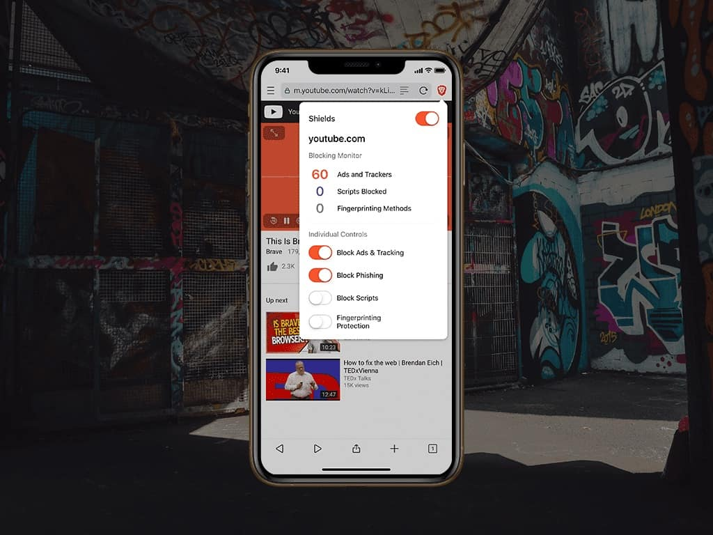 Brave browser in Android.