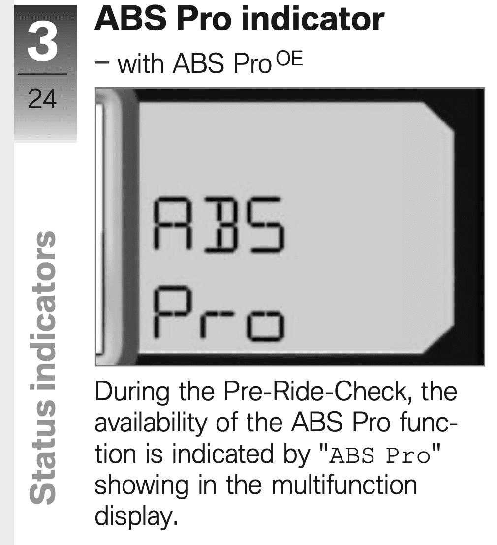 ABS Pro indicator on motorbike at startup