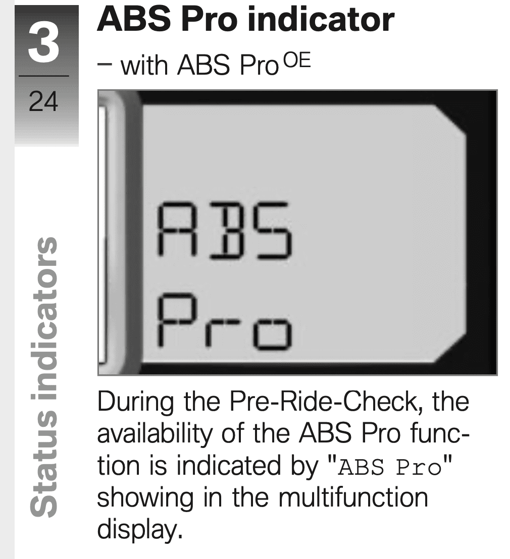 Start-up ABS Pro indicator on S1000R dash